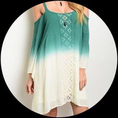 👗Tie Dye Jade & Cream Summer Dress Beautiful Jade Cream Summer Dress.                       Fabric: 100% Rayon                                               Runs little big for the size.  Available for immediate shipment.                               🚫 Trades 🚫 PayPal.  Please make your offer using the offer button. Dresses