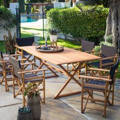 Belham Living Brighton Outdoor Patio Dining Set with Directors Chairs | from hayneedle.com