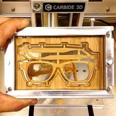 After adjusting my file, I tested the file in some - same stuff we use for the Nomad side panels. I'm really liking the flip frame for 2 sided machining. Desktop Cnc, 3d Printer Designs, Optical Shop, Wooden Sunglasses, 3d Prints, Wood Glass, Side Panels, Sunglass Frames, Wooden Diy