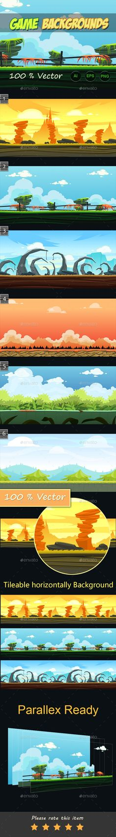6 game backgrounds — Vector EPS #2d #tileable • Available here → https://graphicriver.net/item/6-game-backgrounds/10981189?ref=pxcr