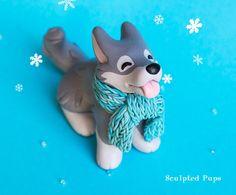 Winter Wolf with scarf sculpture by SculptedPups.deviantart.com on @DeviantArt
