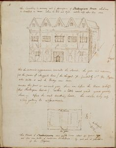 Drawing of Shakespeare's house in Stratford-upon-Avon, which he bought when returning there as an adult.