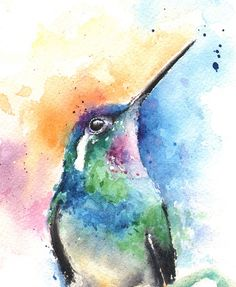 Life is just better with animals around! light up your room and spirit with this fine art print of my watercolor hummingbird painting. Watercolor Hummingbird, Hummingbird Art, Watercolor Animals, Abstract Watercolor, Watercolor Paintings, Tattoo Watercolor, Simple Watercolor, Watercolor Trees, Watercolor Techniques