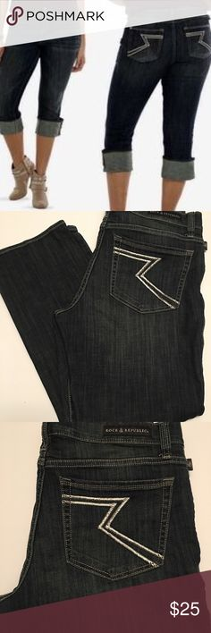 Rock & Republic Kendall Capri Size 12, in good condition, Rock & Republic Denim Capris Rock & Republic Jeans Ankle & Cropped