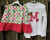 Girls Christmas Outfit- Skirt and Initial Shirt