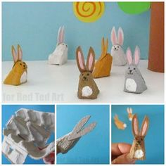Easy Egg Carton Bunny Rabbit - most adorable little egg carton bunny. Isn't this Bunny Craft simply the cutest? Learn how to make lots more recycled animals!