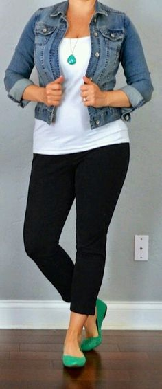 Outfit Posts: outfit post: jean jacket, white tank, black cropped pants, teal flats Women's Casual Curvy Outfit Ideas this Summer 2017 Mode Outfits, Casual Outfits, Fashion Outfits, Dress Fashion, Fashion Clothes, Fashionable Outfits, Dress Casual, Fashion 2018, Ladies Fashion