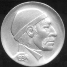 DAVE BOULAY HOBO NICKEL - WOODMAN OBVERSE/SEATED MAN ON STUMP REVERSE - 1936p BUFFALO NICKEL 2 SIDED CARVING Hobo Nickel, Buffalo, Classic Style, Coins, Auction, Carving, Rooms, Wood Carvings, Sculptures
