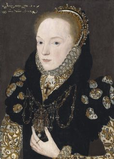 Portrait of Katherine de Vere Lady Windsor bust-length in a high-collared gown with puffed sleeves an embroidered partlet and a jewelled necklace by Master of the Countess of Warwick Mode Renaissance, Renaissance Clothing, Portrait Images, Female Portrait, Portrait Paintings, Historical Costume, Historical Clothing, Edward Windsor, Elizabethan Fashion