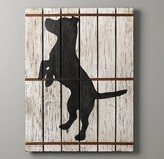 Wood plank dog silhouette art.  I would probably do a football or something sports themed for the boys.
