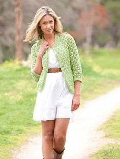 Ladies Lace Cardigan pattern - Offering 3 sleeve lengths and a tutorial on mattress stitch, this lace cardigan knitted in Punto has no waist-shaping to worry.