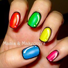 Manis & Makeovers: Neon Cartoon Nails with Esmaltes Fantastic de Vogue
