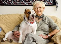 """With a headline like, """"Lincoln Grandmother Ignores Stereotypes, Adopts Homeless Pit Bull. 77 year old adopter, Elizabeth Meyer, and her """"pit bull"""" dog Lily! Lily & Elizabeth have been busy busting old stereotypes. we hope to continue seeing more of them as they spread the word that """"pit bull"""" dogs are family! Awwww go granny! That's a good dog!"""