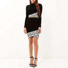 Black knitted patterned hem pencil skirt - mini skirts - skirts - women