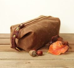 Custom Compact Personalized Toiletry Bag/Dopp Kit - Canvas and Leather by Sivani Designs | Hatch.co
