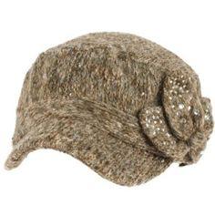Elastafit Winter Floral Bow Crystals Knit Cadet Military Castro Hat Cap Brown SK Hat shop. $14.95