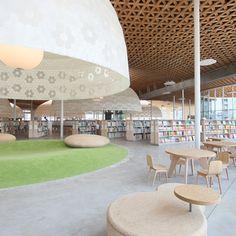 岐阜市中央図書館みんなの森ぎふメディアコスモス|エスウッド(Swood) 桧、杉、いぐさなどの間伐材を使用したストランドボードの製造・販売