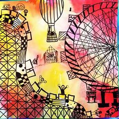 Loved exploring the designs of amusement parks with children. Imaginary details sparked interest as well. Kids Art Class, Art Lessons For Kids, Art Activities For Kids, Kindergarten Art Lessons, Art Lessons Elementary, Coaster Art, Roller Coaster, Art Journal Prompts, 4th Grade Art