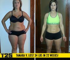 "Tamara V. lost 34 lbs in 22 weeks of Focus T25!    ""Who would have thought that taking 25 minutes for myself could turn my life around completely! Focus T25 has completely changed my life, not only physically, but emotionally and mentally!"""