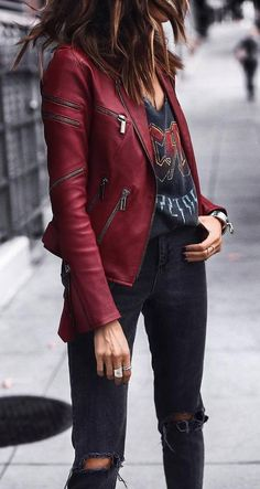 street style addict / red leather jacket printed tee rips