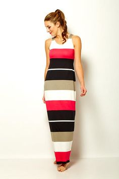 Sara Campbell racer back maxi dress in stripe jersey Boston Shopping, Striped Jersey, Summer 2015, Collection, Dresses, Design, Women, Vestidos, Women's