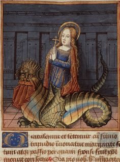 St. Margaret of Antioch was swallowed by a dragon and defeated it from within.