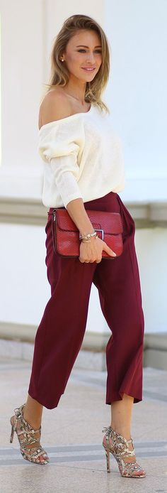 Burgundy Culottes Fall Inspo by Fashion Spot