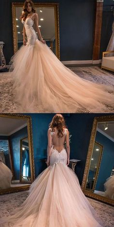 Charming Mermaid Seen Through Back Inexpensive Long Wedding Dresses, WG672