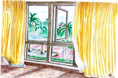 """Curtains and the Window"" by Vishwani Chauhan; watercolour, pencil, ink, oil pastel, and chalk."