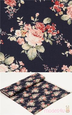 "navy blue cotton fabric with roses, leaves, Material: 100% cotton, Fabric Type: strong cotton printed shirting fabric, Pattern Repeat: ca. 31cm (12.2"") #Cotton #Flower #Leaf #Plants #Valentine'sDay #JapaneseFabrics"