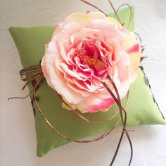 Lovely pink and green ring pillows - Lindsey!!! Bebe'!!! Love the large single pink flower decoration on the pillow...unique!!!