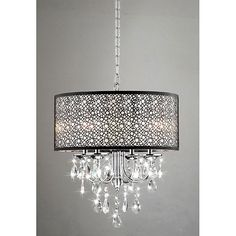 Indoor 4-light Chrome/ Crystal/ Metal Bubble Shade #Chandelier #lighting via www.overstock.com