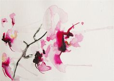 "Original art for sale at UGallery.com | Orchid Study III by Karin Johannesson | $250 | watercolor painting | 8"" h x 10"" w 