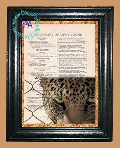 Leopard's Face Peering thru a Chainlink Fence - - Vintage Dictionary Book Page Art-Upcycled Page Art,Wall Art,Collage Art, Leopard Print by CocoPuffsArt on Etsy