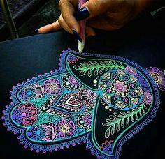 Neon Hamsa final touches for an art commission ❤ what so you guys think? Mandala Drawing, Mandala Painting, Dot Painting, Hamsa Painting, Mandala Artwork, Mandala Stencils, Gel Pen Art, Gel Pens, Dibujos Zentangle Art