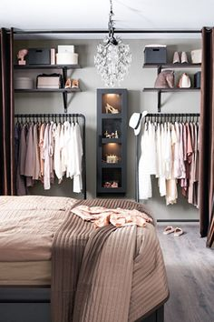 Debbie: I like the open closet for main house. Considering on locker room design in a small space bedroom could be a hard problem to solve. You should find ideas and inspirations on it carefully. Closet Designs, Bedroom Designs, New Room, Bedroom Decor, Teen Bedroom, Bedroom Wardrobe, No Closet Bedroom, Modern Bedroom, Clothes Rack Bedroom