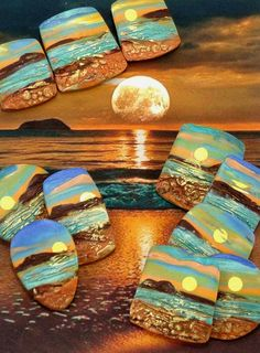 Handmade Polymer Clay 34mm Focal Pendant Cabochon Bead-Beach Sunset Scene-Beach…