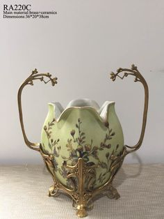 Classical Handmade Bronze Porcelain Flower Patterns Centerpiece