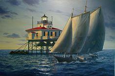 Schooner sailing by Choptank Lighthouse.