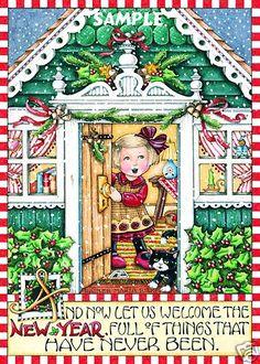 Licensed Mary Engelbreit Christmas Refrigerator Fridge Magnet Welcome New Year…