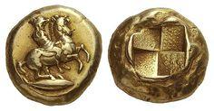 La representación más temprana de Kyzikos, hijo de Apolo Este stater del electrum de Kyzikos, Mysia, c. 460-400 aC muestra el héroe Kyzikos, montando su caballo de cría a un galope a la derecha. Esta es la representación más temprana del Thessalian Kyzikos, el hijo de Apolo y el fundador de la famosa ciudad de Kyzikos situada en el Mar de Mármara, donde la captura de atún era tan importante que el animal se convirtió en el rasgo característico de la acuñación de esta ciudad.