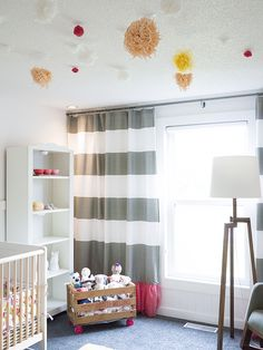 west elm Stripe Shower Curtain repurposed in a nursery! via Design for Minikind