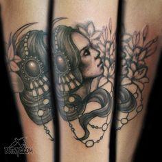 Portrait of a Woman with Headpiece Tattoo by Nasa at Body Language Tattoo Shop NYC #tattoo #portraittattoo #tattooartist #cutetattoo