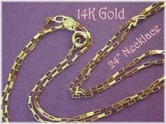 """14K Solid Gold - Long Box Cable Link 24"""" Chain Necklace - The Perfect Gift - FREE SHIPPING by FindMeTreasures on Etsy"""