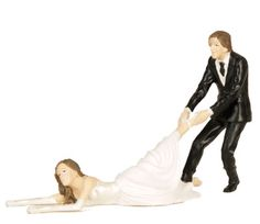 Runaway Bride Wedding Cake Topper   Too funny! Great for the Reluctant Bride....You guests will crack up!