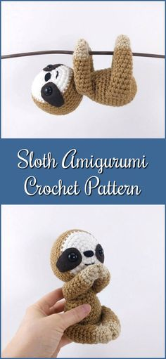 Crochet sloth pattern - amigurumi sloth pattern - crocheted sloths pattern - PDF crochet pattern #etsy #ad #crochetpattern #amigurumipattern #amigurumi #pdf