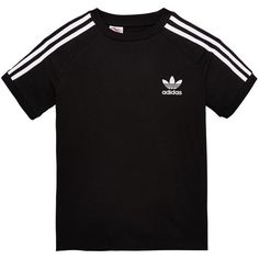 Adidas Originals Adicolor Older Boy California Tee (57 PLN) ❤ liked on Polyvore featuring tops, t-shirts, striped t shirt, sport t shirt, sports tee, cotton jersey and stripe tee