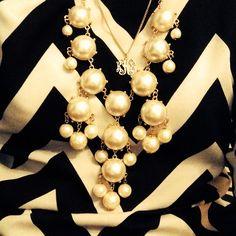 chevron bubble and monogram necklace #prep style