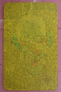 Tableau+acrylique+(93)+«Jaune+Croco».+Acr