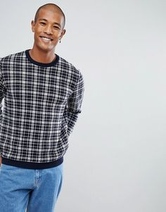 ASOS All Over Check Sweater In Bue